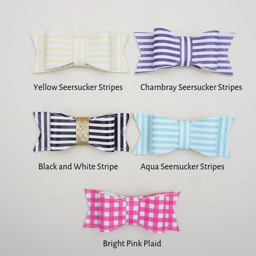 Mint Set of 3 Hand Tied Bows-Headbands or Clips /& Blue Seersucker Pink