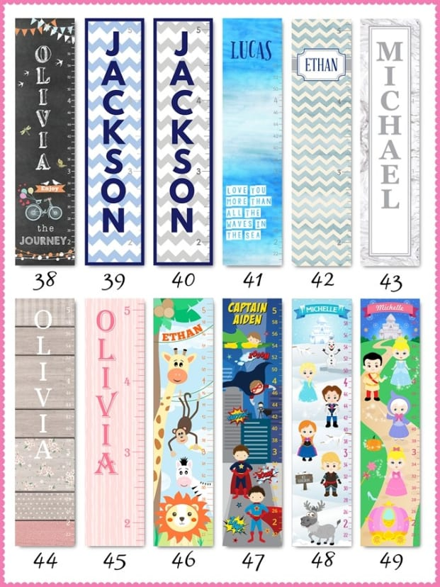 Kids Growth Charts Personalized On Canvas 50 Designs Jane
