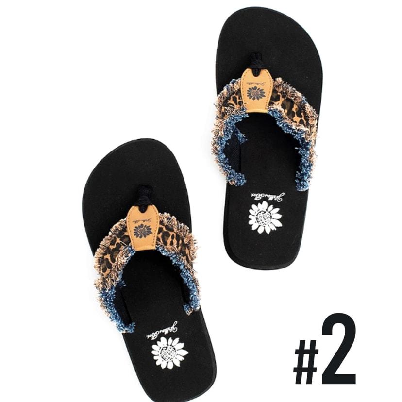 Yellow Box Shoes Fringe Leopard Flip
