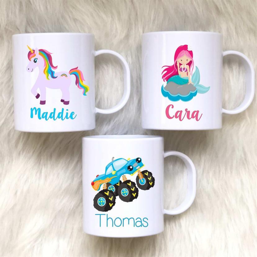 Personalized 3 Dimensional Names on Colorful Kids 16 Oz Mugs Dishwasher Safe