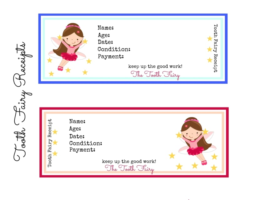 graphic relating to Free Printable Tooth Fairy Receipt named Printable Enamel Fairy Receipts!