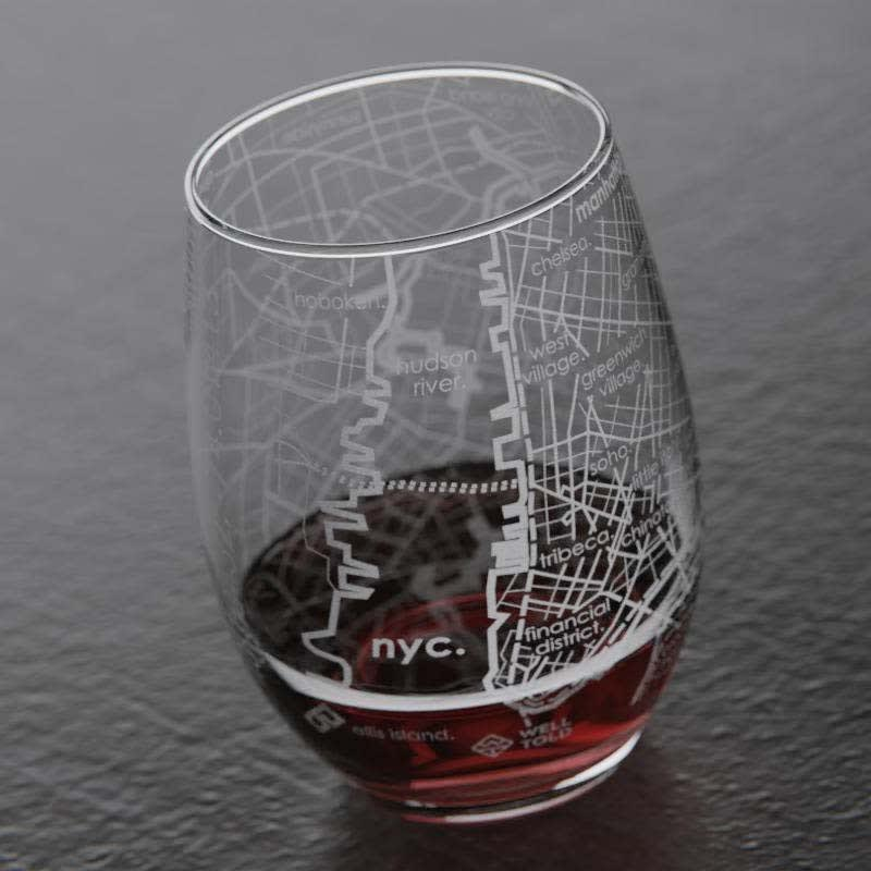 Los Angeles Maps Stemless Wine Glass Gift