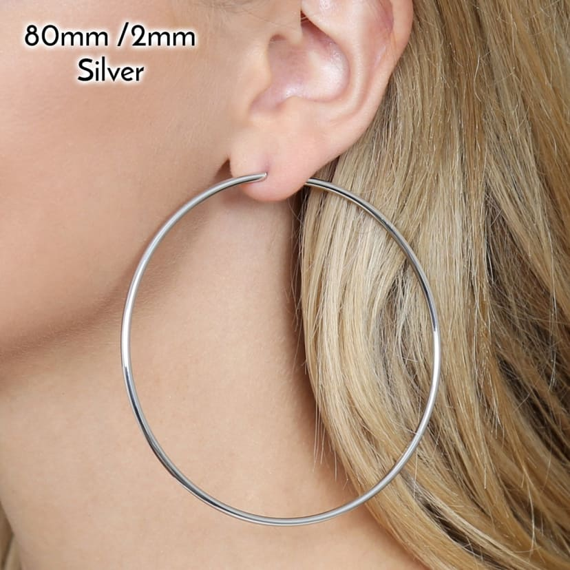 Hoop earrings extra large XL silver thin style spring clasp