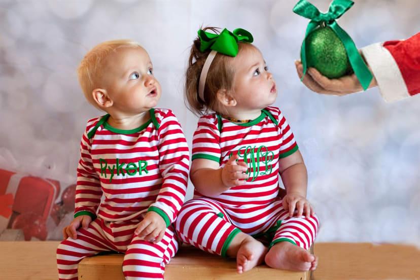 Baby Monogram Christmas Onesie Personalized Baby Christmas Pajamas Christmas Day PJ/'s