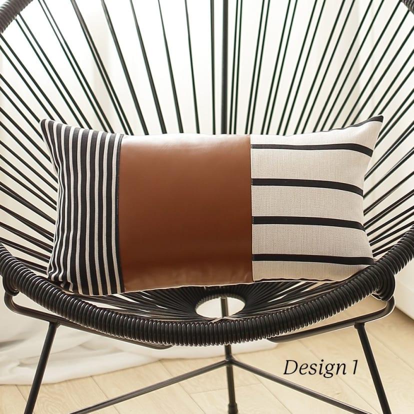 vegan faux leather lumbar throw pillow cover
