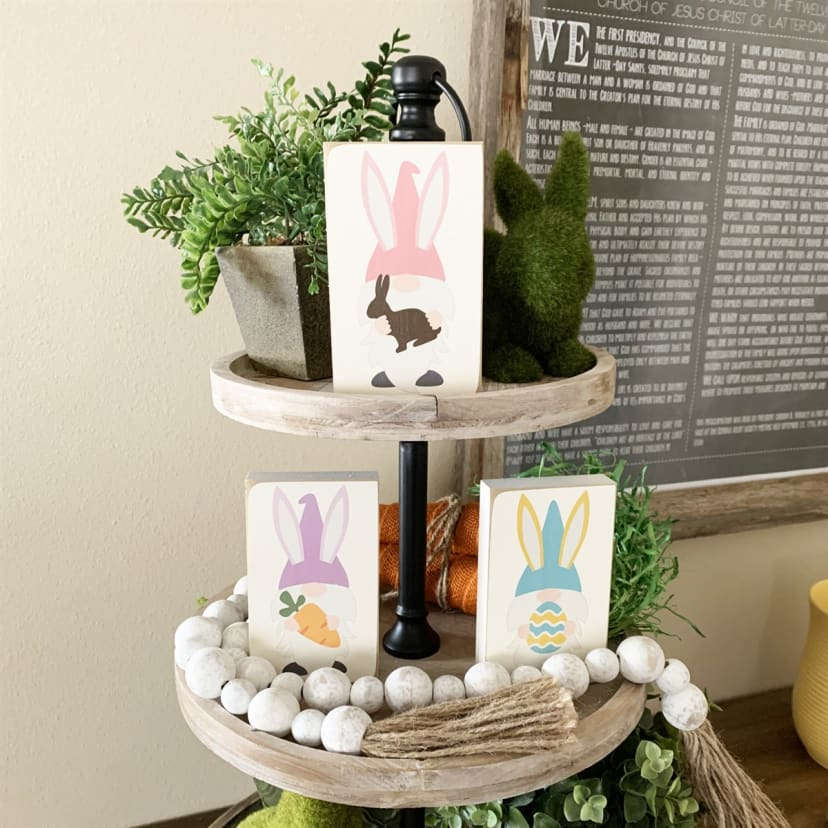 Gnome and Toadstool Tiered Tray Decor Bundle 10 pieces