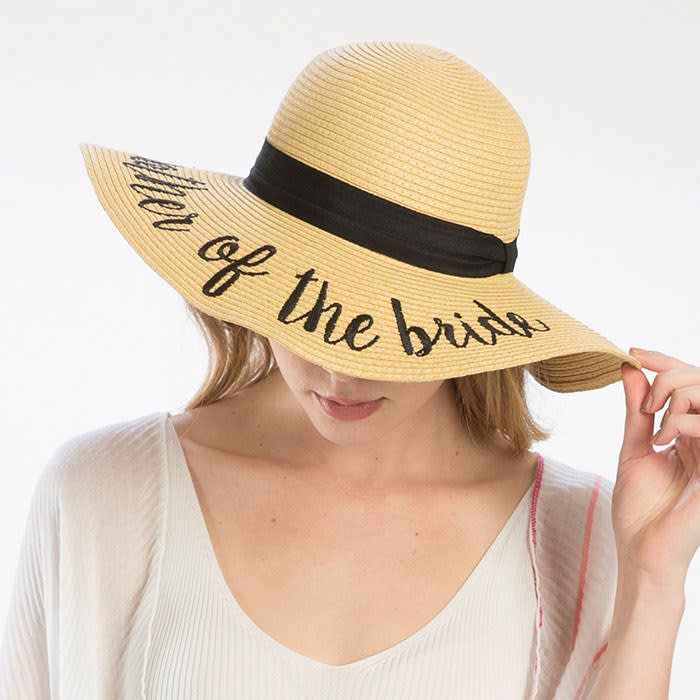 Crown Circumference 23 White Bride/' Embroidery Straw Floppy Sun Hat