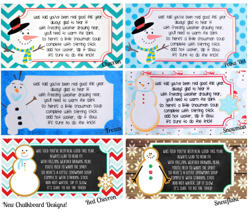 Snowman Soup Kit Stickers Bags Recipe Card Jane