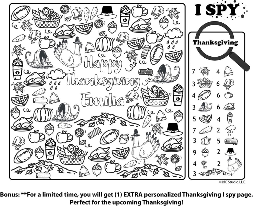 Personalized I Spy Coloring Fun + Bonus Page Jane