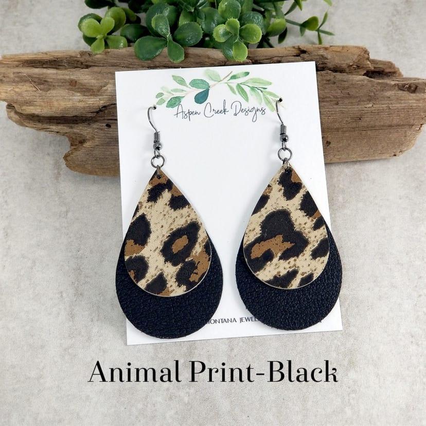 Cheetah Leather Earrings Teardrop Leather Earrings Animal Print Leather Earrings Statement Earrings Double Layered Leather Earrings