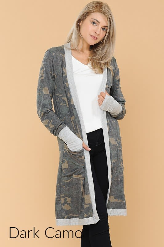 Long Cardigan Black Duster Cardigan with Pockets and Thumb Holes
