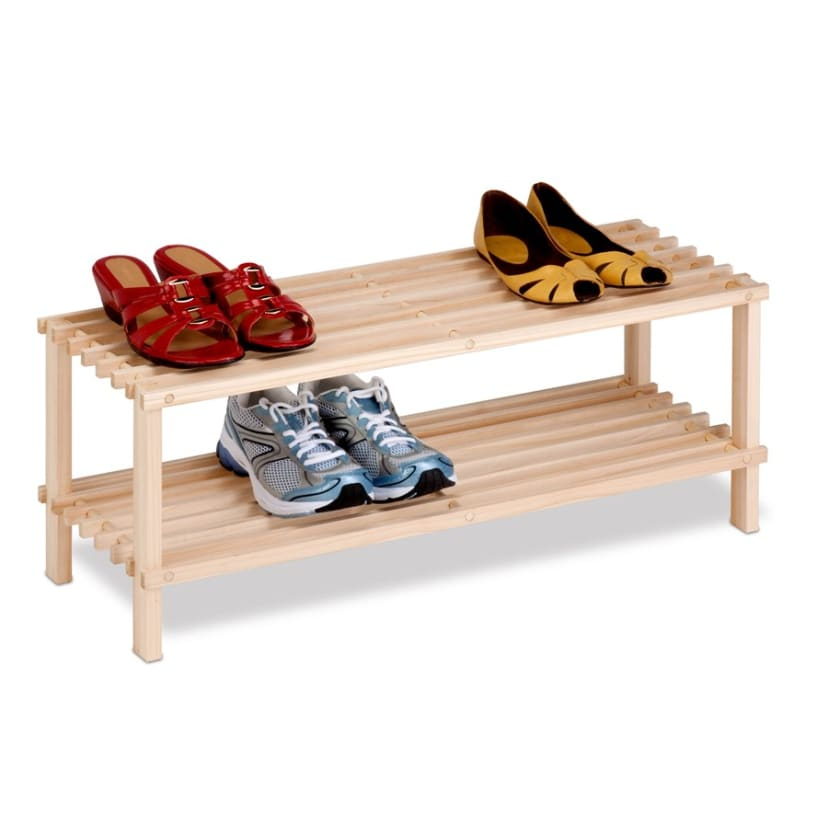 Unfinished Natural Wood 2 Tier Shoe Rack Free Shipping