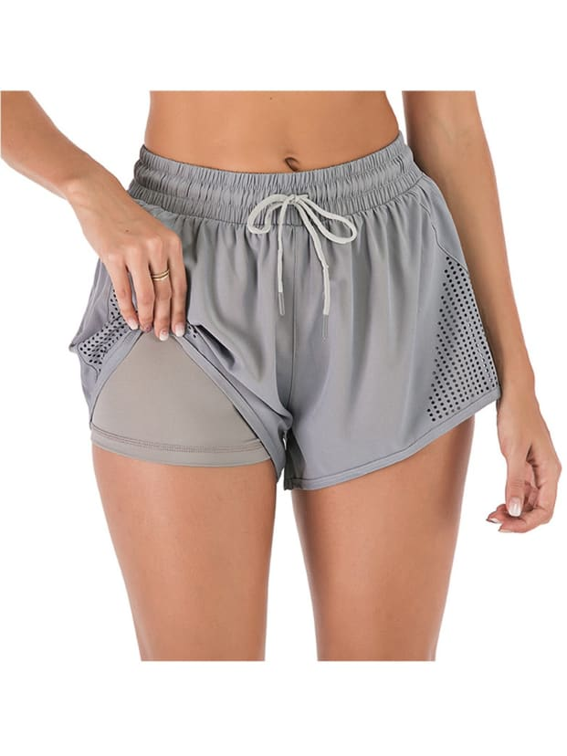 Anna-Kaci Womens Black Running Shorts Gym Athletic Low Waist Split Shorts