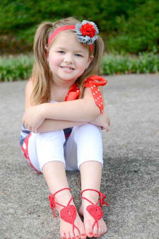 Boho Little Girl Barefoot Sandals   Jane