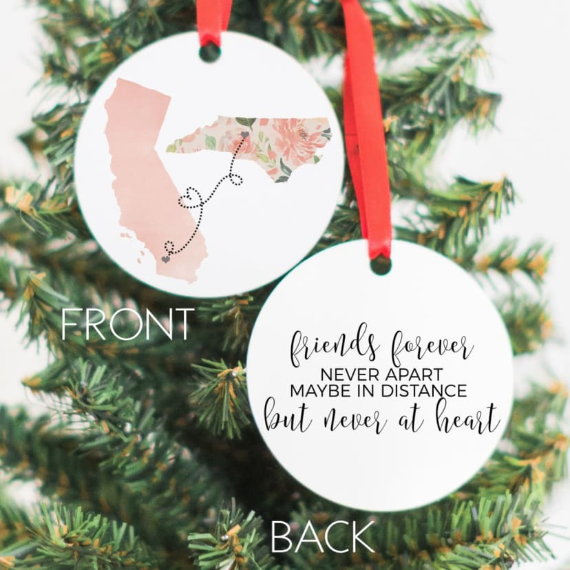 Double-Sided Custom Ornament Personalized Two State Ornament Custom Family Ornament State to State Ornament Custom State Ornament