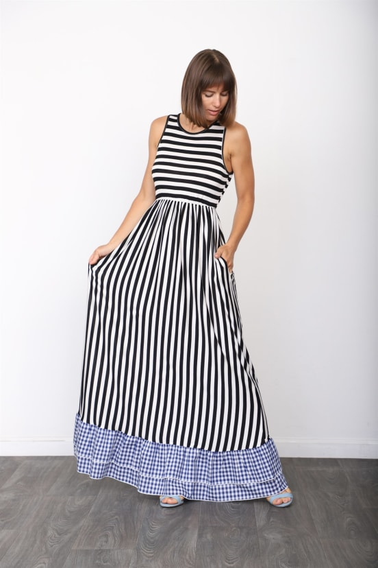 Gingham Tiered Stripe Maxi Dress S 3xl Jane