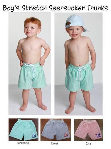 Boys /& Girls Monogrammed Seersucker swim bathing suit trunks bikini toddler embroidered swimsuit **Back Order Sizes Will Ship END of March**