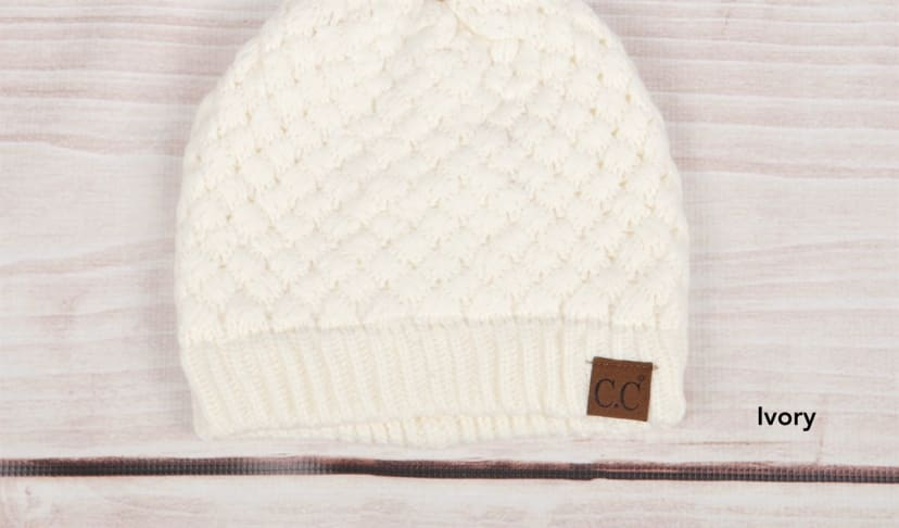 C Waffle Knit Slouch Beanie Available In 5 Colors C