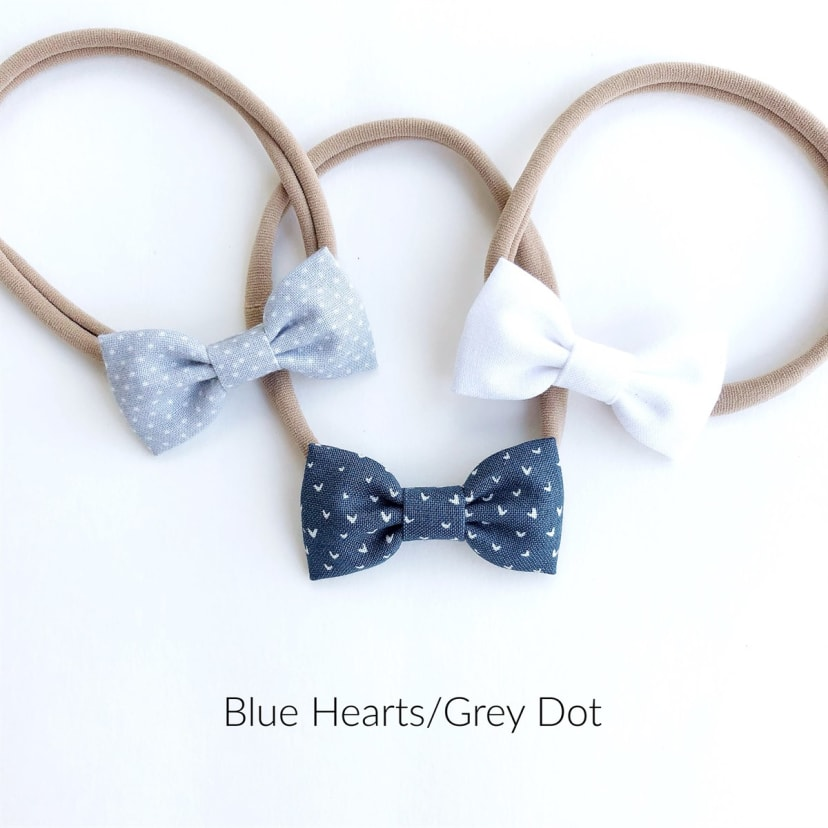 All Sizes available from Preemie to Adult : Navy Gingham Ruffled Headband :