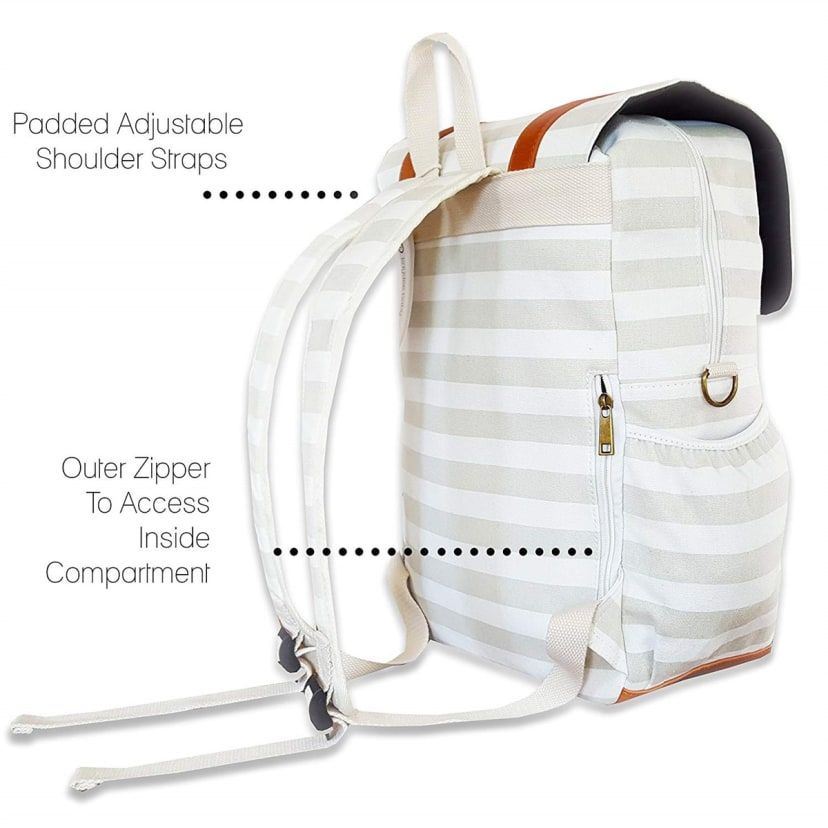 Kaydee Baby Canvas Diaper Backpack Black and White Stripes