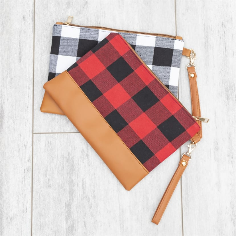 Plaid Clutch Wool Plaid Clutch Woolen Clutch Plaid Wristlet Plaid Wool Clutch Fall Clutch wrist pouch