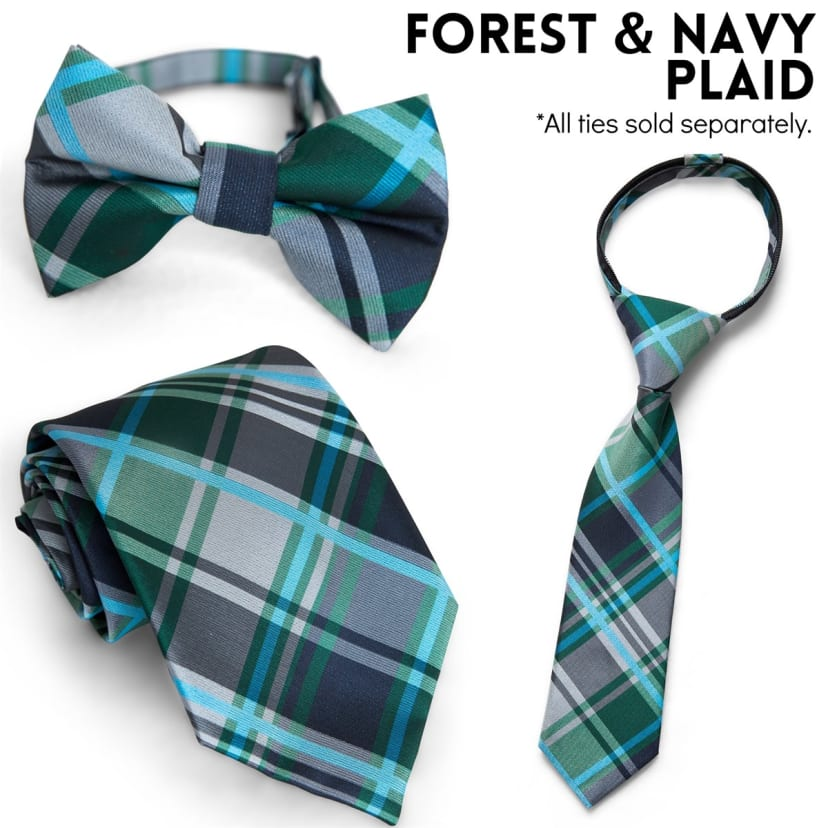 C Toddlers and Standard Tie for Infants Littlest Prince Matching Bow Tie Youth /& Men Zipper Tie