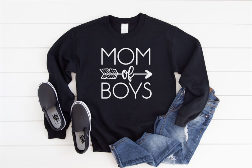 Grey Sweat Shirt Mom of Three Shirt Boy Mom Crewneck Mom of Two Gift Available in 4 Colors Gift for Mom Mom of Boys Sweatshirt