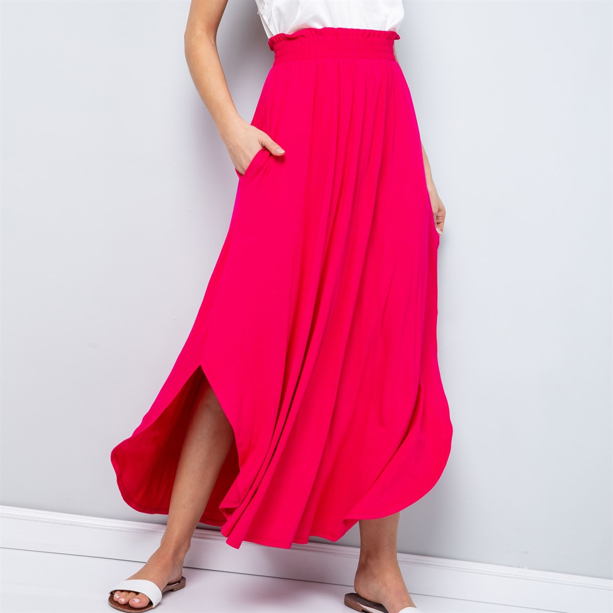 Solid Maxi Skirt W/ Pockets