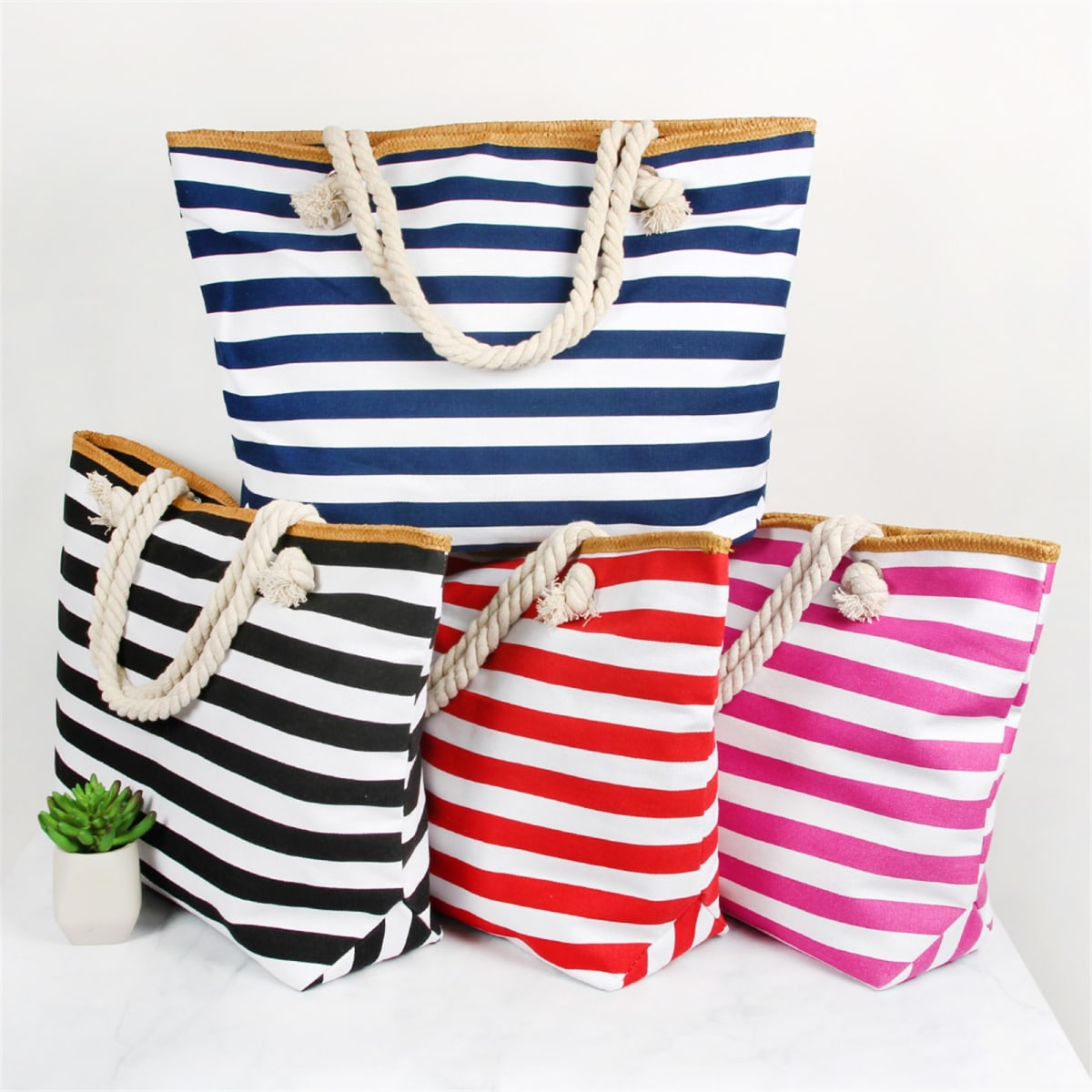Jumbo Stripe Tote Bags | 5 Colors