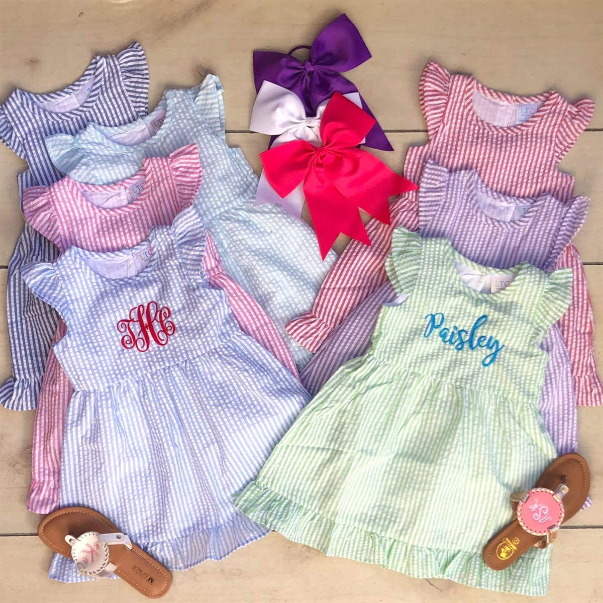 Personalized Girls Seersucker Dresses