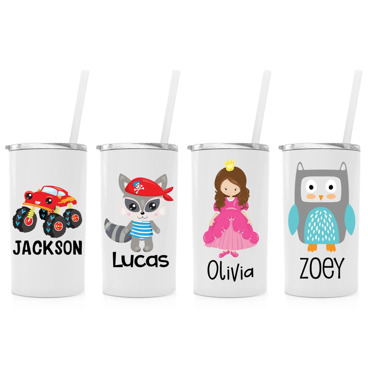 Personalized Kids Stainless Steel Tumblers w/ Straw   .99