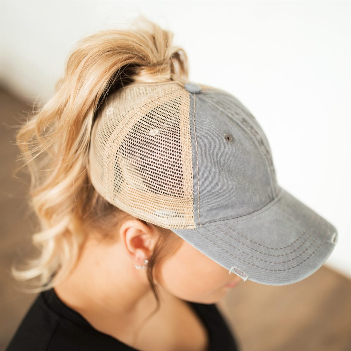 Distressed Messy Bun Hat- .99  Jane  Don't want to fix your hair? Throw one of these on!
