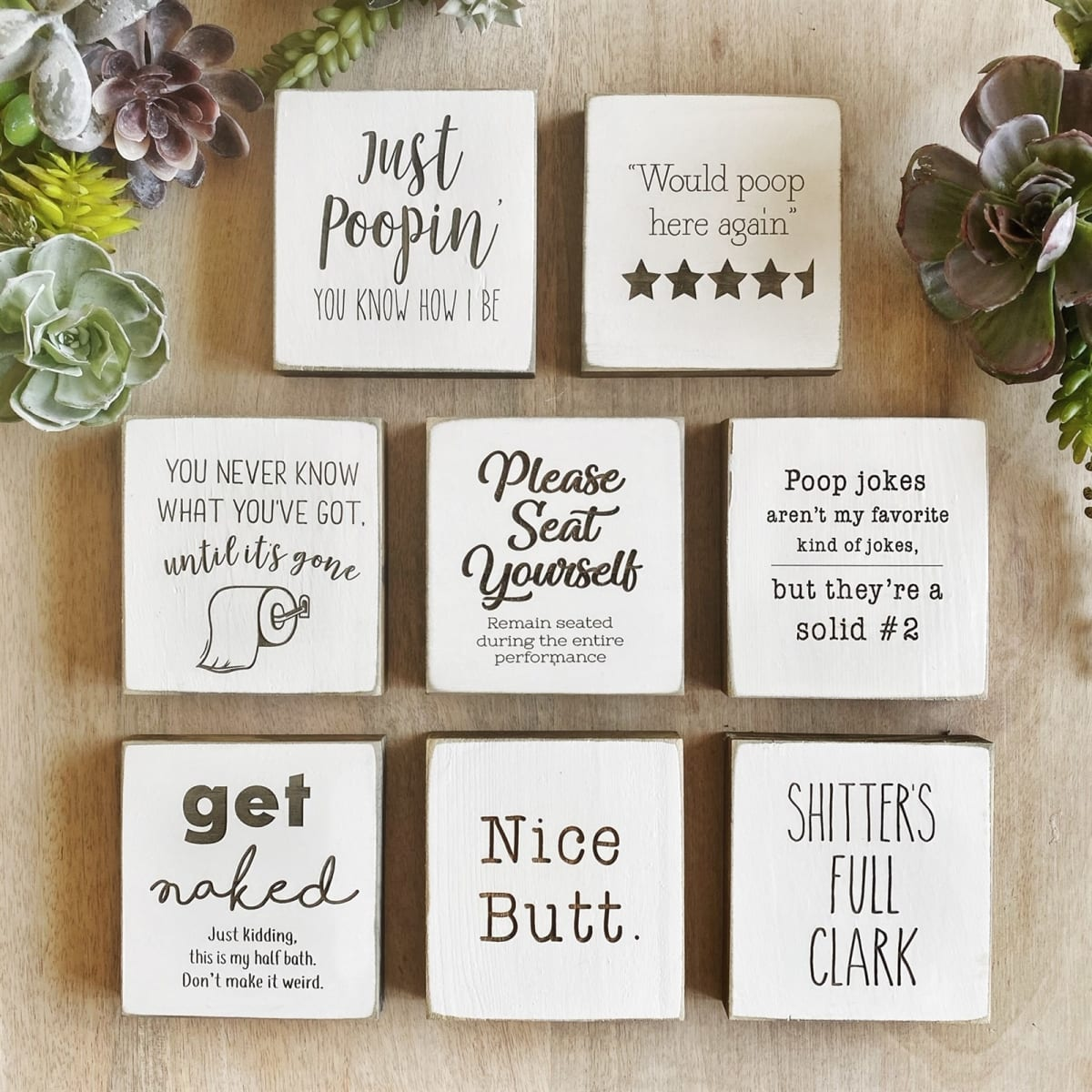 $14.99 (reg $23) Mini Bathroom Signs | Set of 2