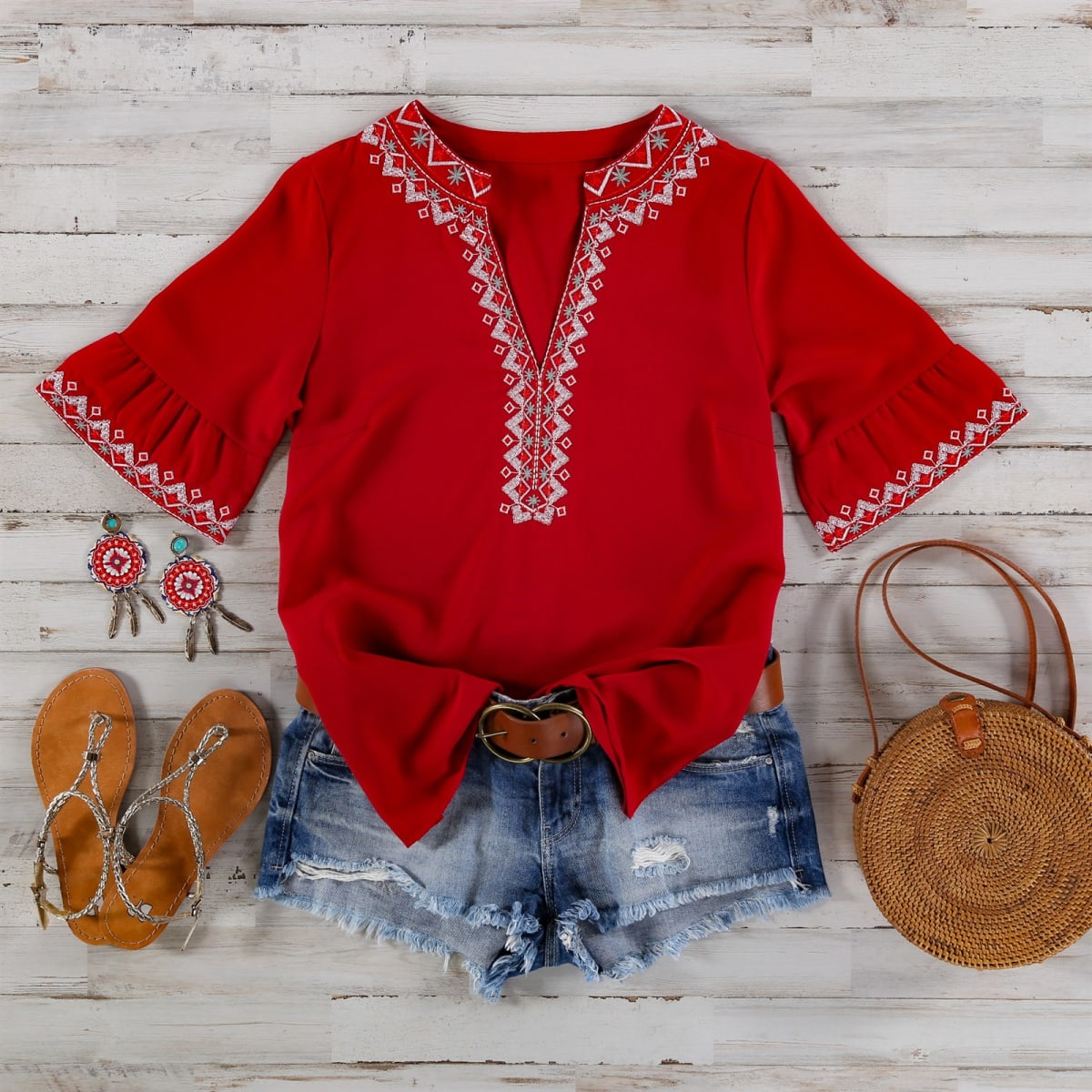 Embroidered Fall Top  S-2XL