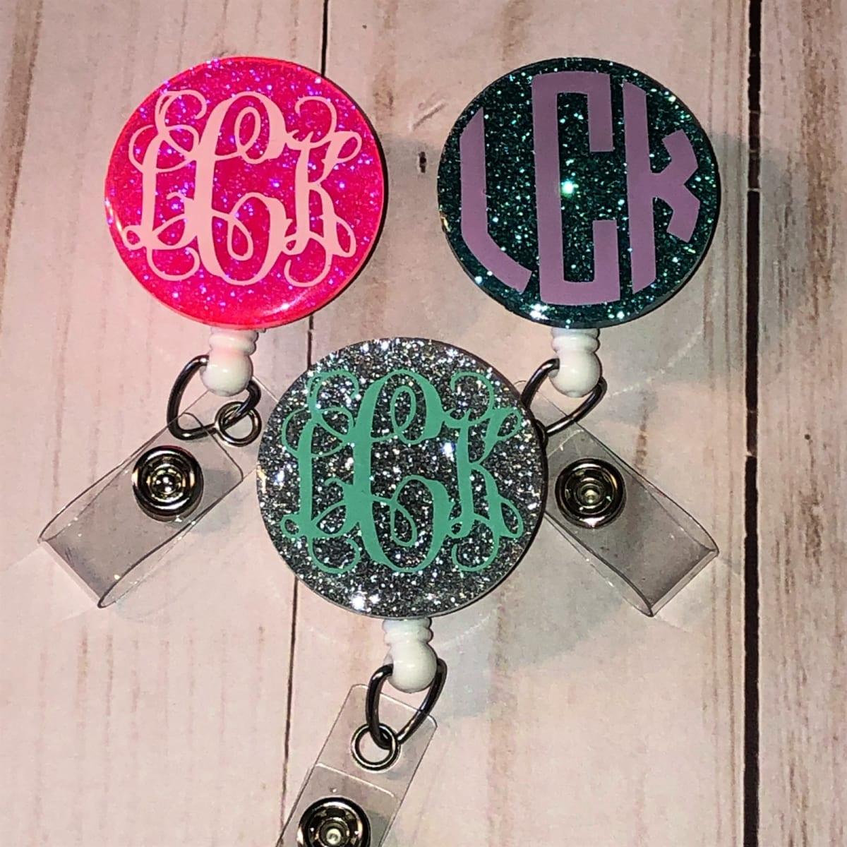 Monogrammed Glitter Badge Reels-  ONLY .99!
