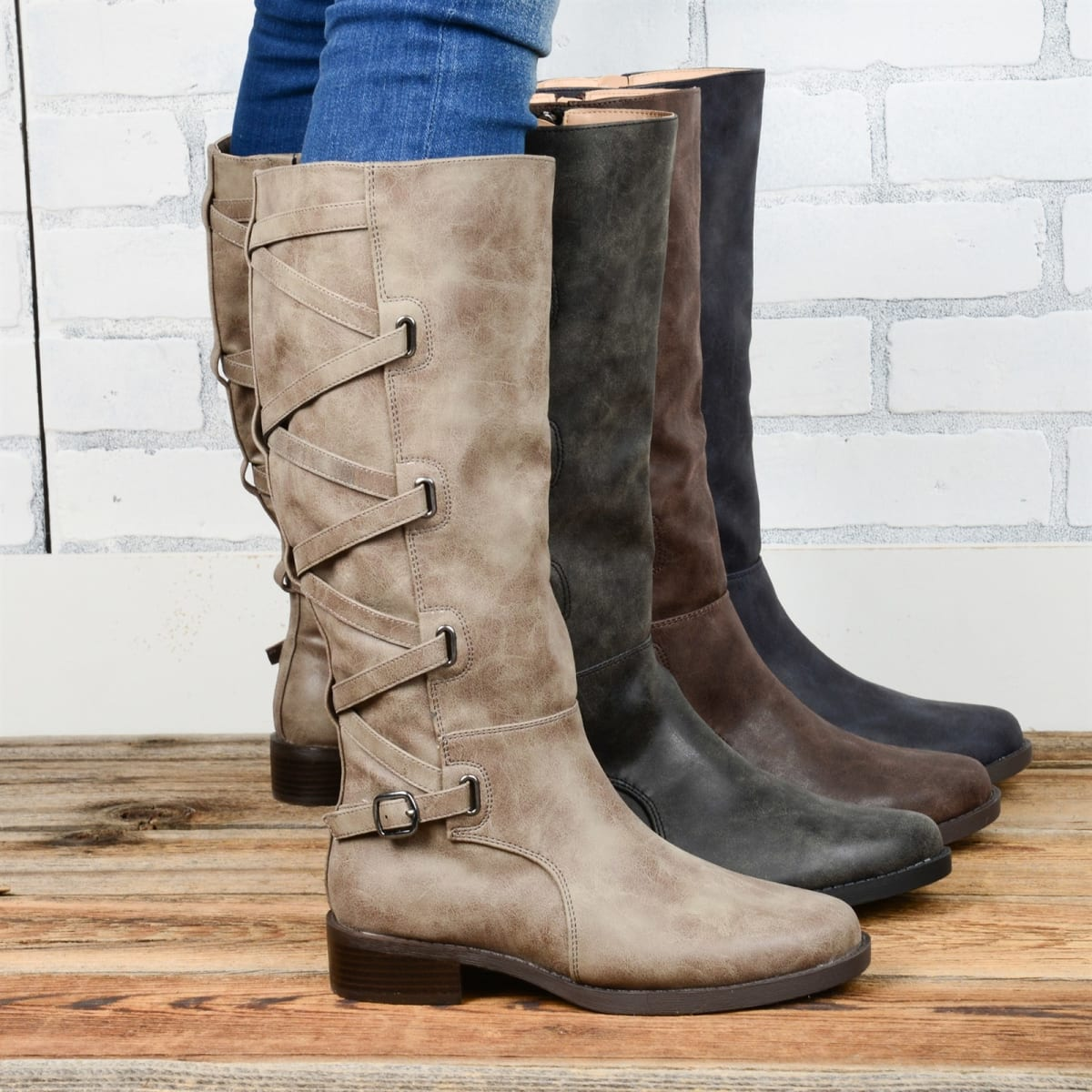 Lace-Up Detail Riding Boot | Wide Options