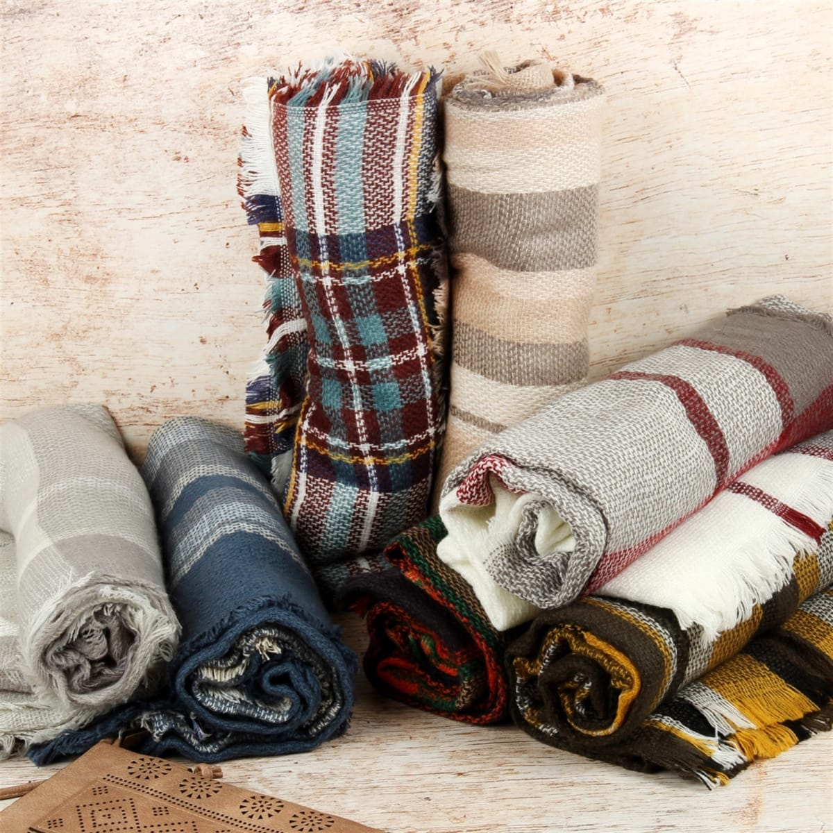 Plaid Blanket Scarves Collection
