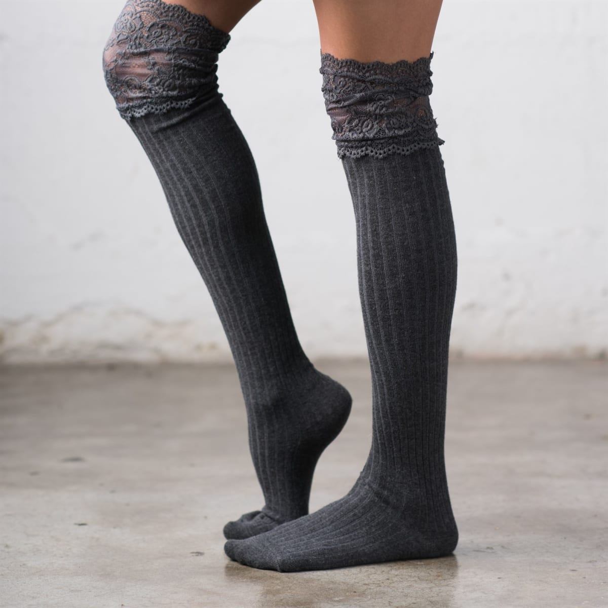 Lace Topped Over The Knee Socks
