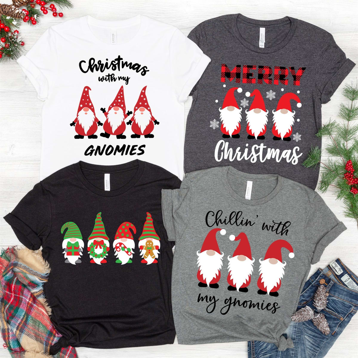Christmas With My Gnomies Tees