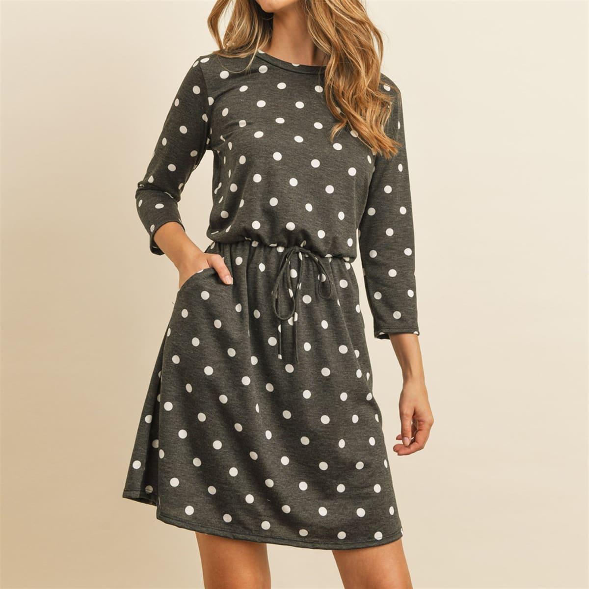 3/4 Sleeve Cinch Waist Pocket Dresses