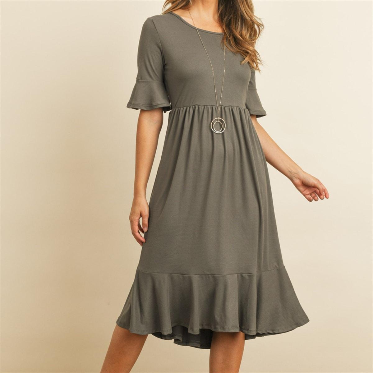 Flutter Sleeve Ruffled Hem Dress