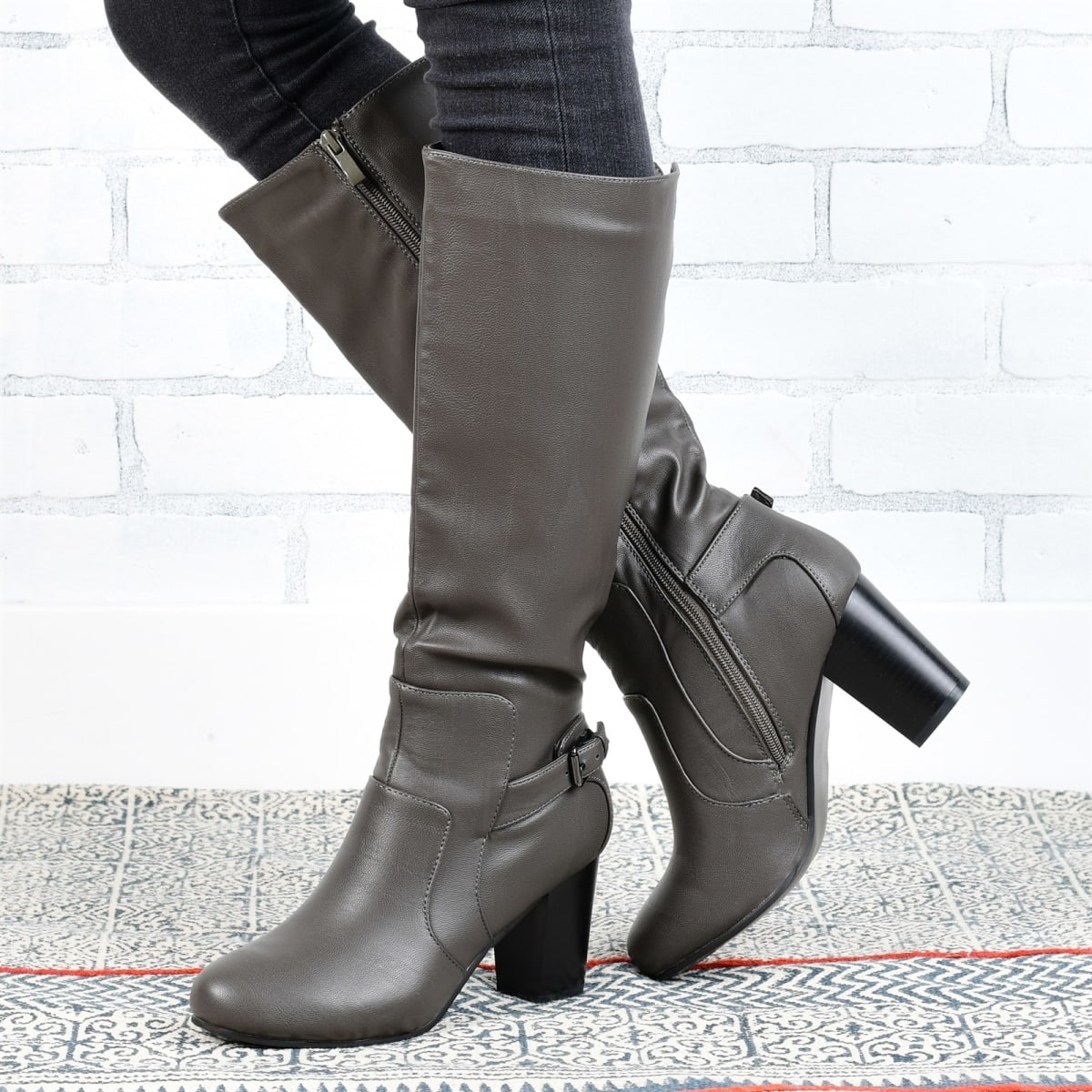 Buckle High-Heeled Boot   Wide Calf Option