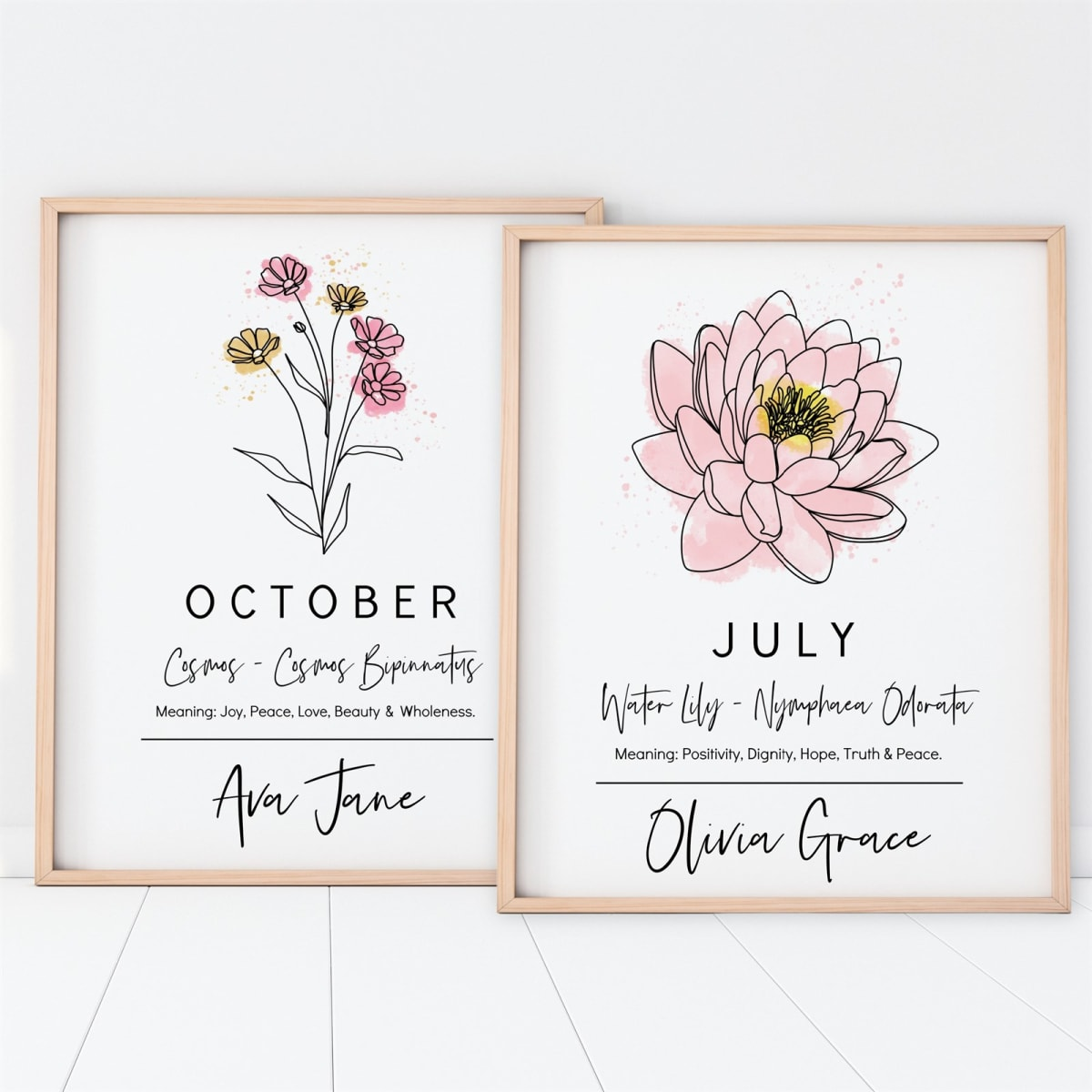 Personalized Birth Flower Print
