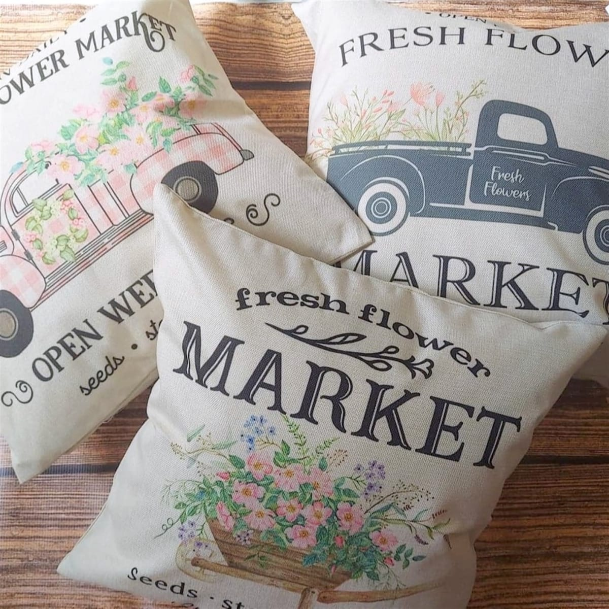 Farmers Market Spring Time Pillow Covers