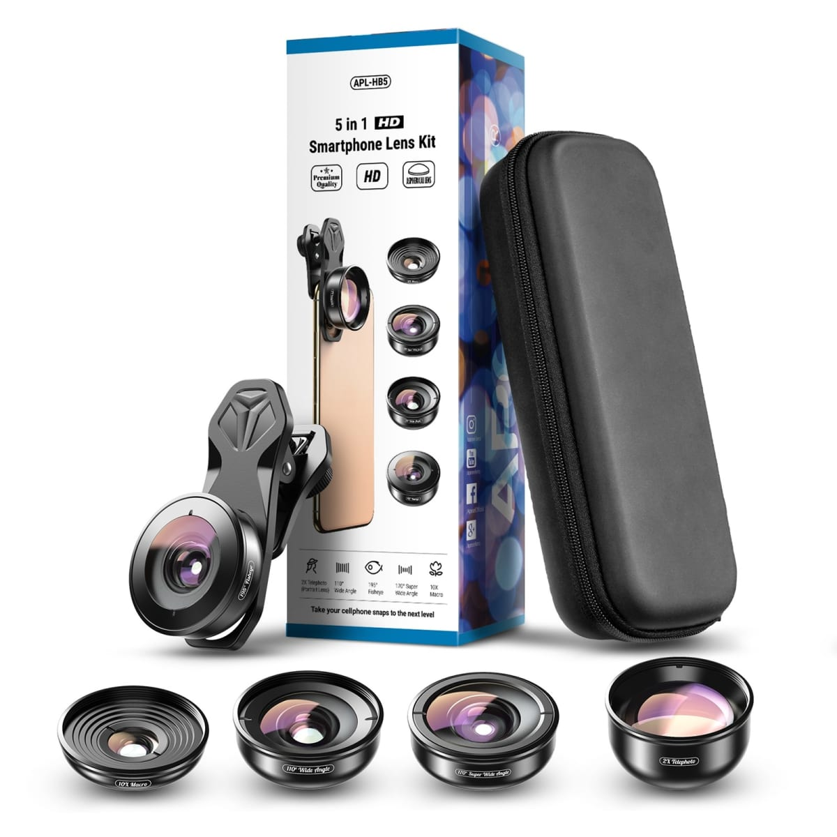 Apexel 4K HD Smart Phone 5-in-1 Camera Lens Kit