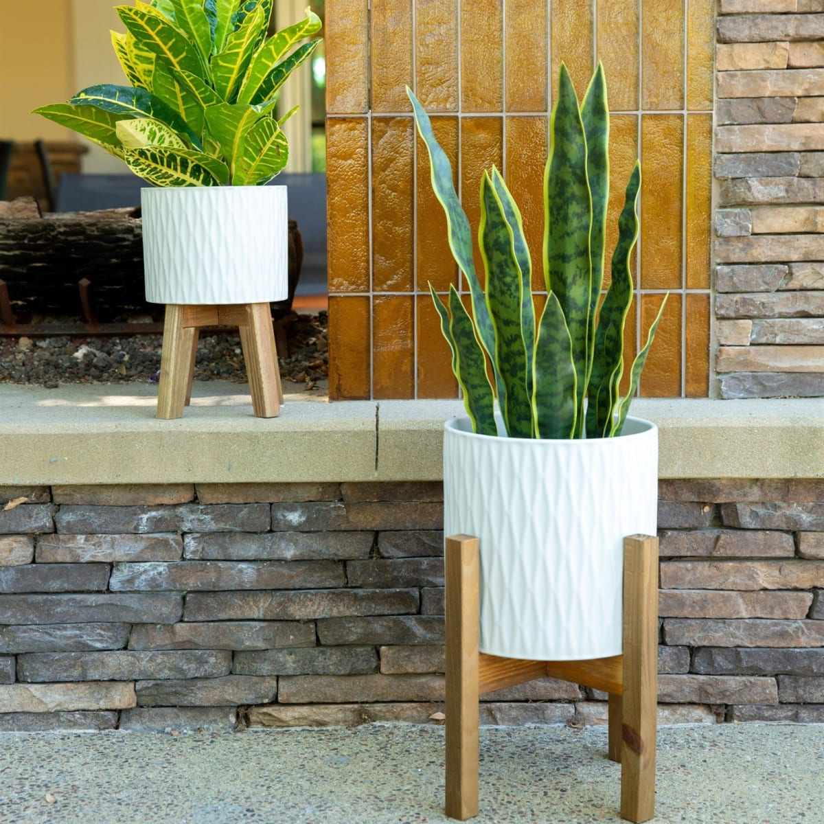 2-Set Ceramic Floor Planter
