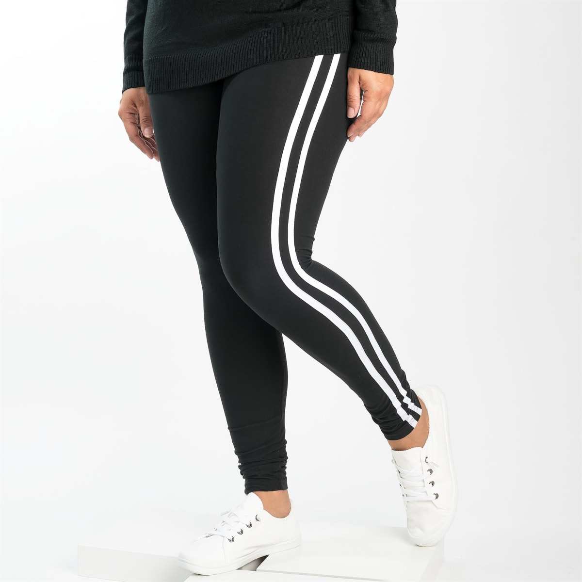 Jane Solid Ankle Leggings with Stripes