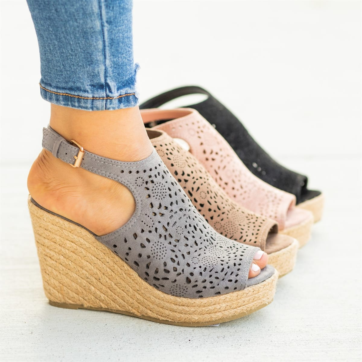 Lovely Laser-Cut Espadrille Wedges