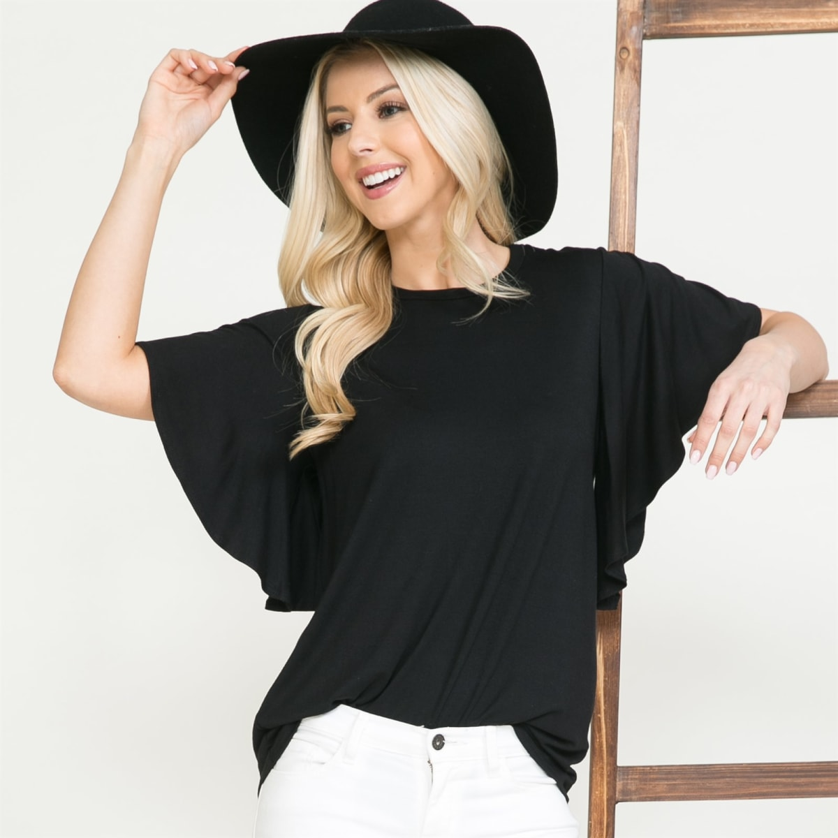 Flutter Short Sleeve Solid Top