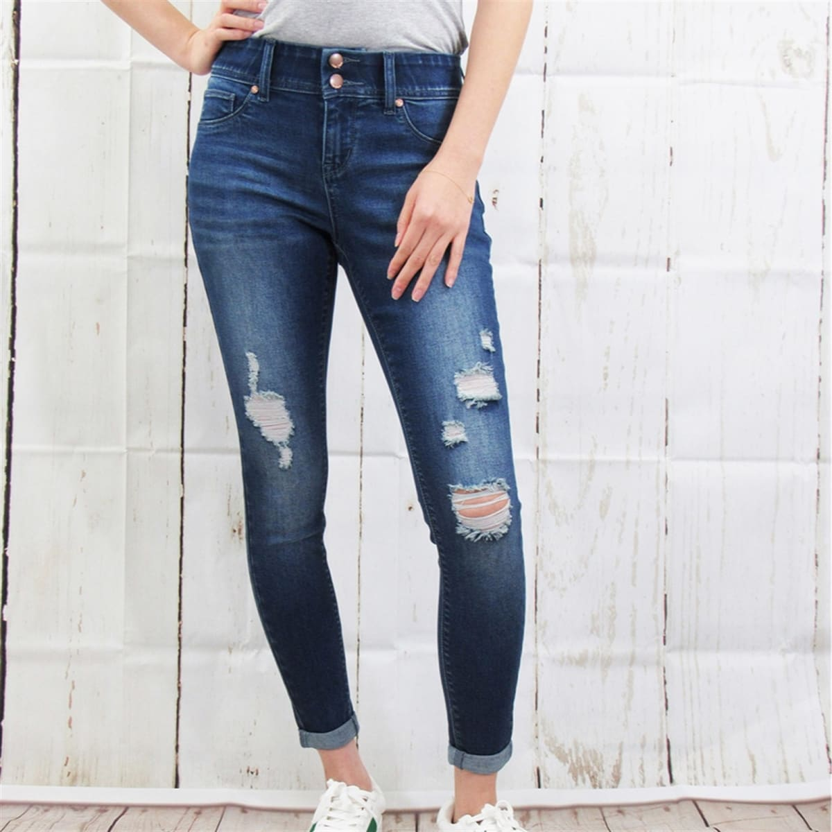Tummy Control Destructed Rolled Cuff Skinny Jean